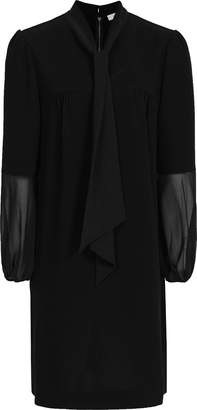 Reiss RONDA TIE NECK SHIFT DRESS Black