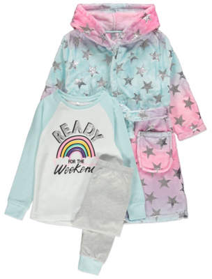 George Pink Star Print Dressing Gown and Pyjamas 3 Piece Set