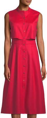 Tahari ASL Rooney Button-Front Popover Shirtdress