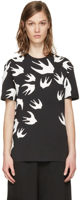 McQ Alexander Mcqueen Black Swallow T-Shirt $235 thestylecure.com