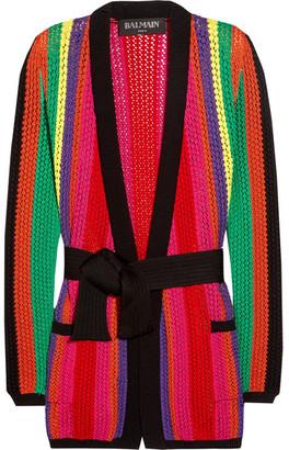 Balmain - Striped Open-knit Blazer - Pink $2,610 thestylecure.com