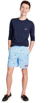Vineyard Vines Boys Gingham Whale Embroidered Chappy Trunks