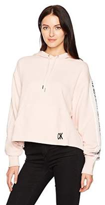 Calvin Klein Jeans Women's Oversized Crop Hoodie Logo Tape Detail