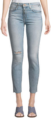 Current/Elliott The High-Waist Stiletto Foiled-Seam Skinny Jeans