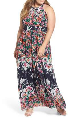 876ff063581e Eliza J Floral Halter Chiffon Maxi Dress