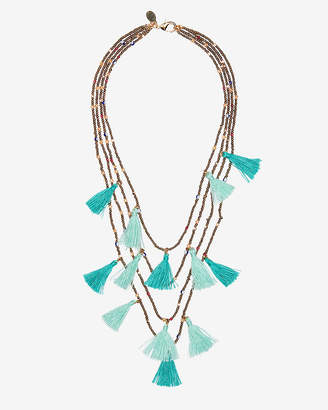 Express Four Row Beaded Tassel Necklace