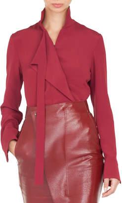 Akris Mock-Neck Asymmetric Front Panel Long-Sleeve Silk Crepe Blouse