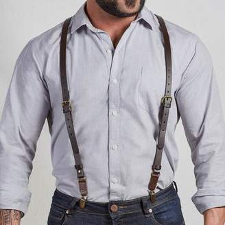 Blade + Blue Brown Leather Buckle Skinny Suspenders