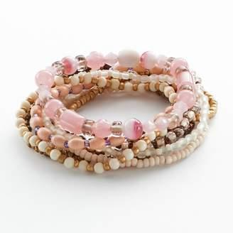 Mudd Two Tone Bead Stretch Bracelet Set