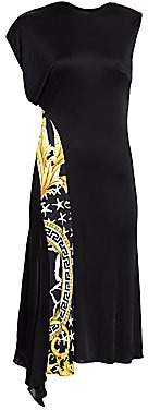 Versace Women's Asymmetric Baroque Print Cap Sleeve Dress