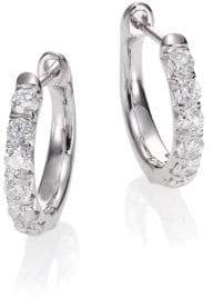Jude Frances Jude Diamond & 18K White Gold Huggie Hoop Earrings/0.5""