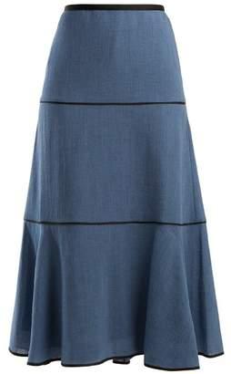 Cefinn - Tiered Voile Midi Skirt - Womens - Light Denim