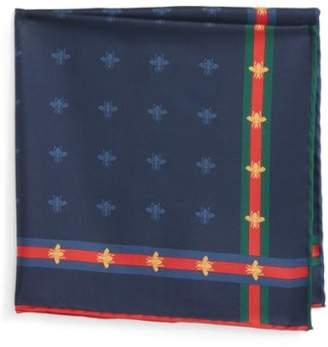 Gucci Runebis Silk Twill Pocket Square