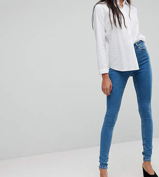 Asos Tall DESIGN Tall Ridley skinny jeansin lily pretty mid wash blue