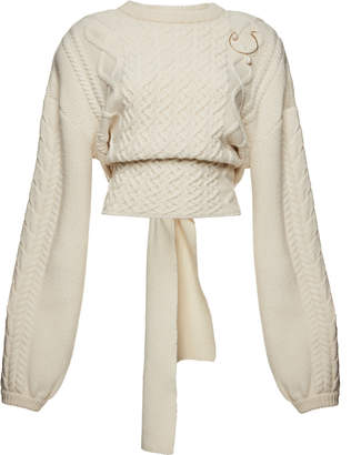 Magda Butrym Braid City Cable-Knit Wool And Cashmere Blend Sweater