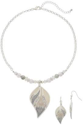 Simulated Crystal & Bead Leaf Pendant Necklace & Drop Nickel Free Earrings Set