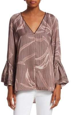 Halston Printed Tiered Bell-Sleeve Top
