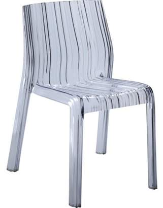 Fine Mod Imports Stripe Dining Chair-Color:Clear,Finish:Polycarbonate,Style:Contemporary/Modern
