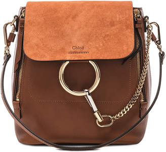 Chloé Small Faye Backpack Calfskin & Suede in Tan | FWRD