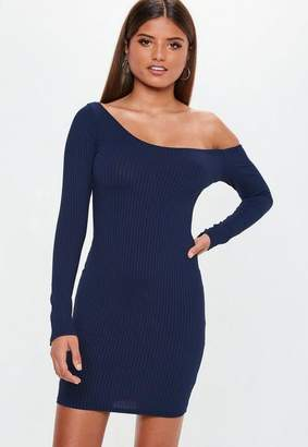 Missguided Carli Bybel x Navy Long Sleeve Ribbed Dress