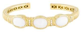 Judith Ripka 18K Chalcedony & Diamond Cuff