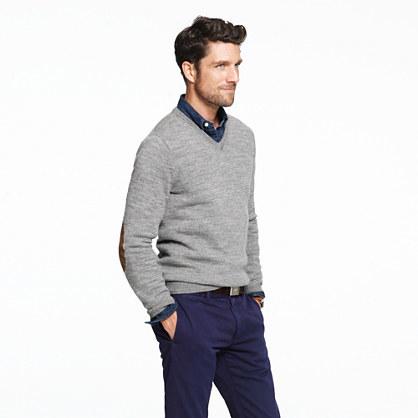 J.Crew Slim rustic merino V-neck elbow-patch sweater