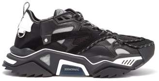 Calvin Klein Strike 205 Leather And Mesh Trainers - Mens - Black