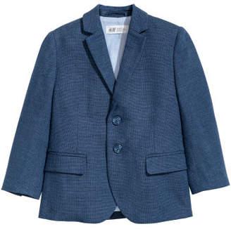 H&M Textured-weave Blazer - Blue