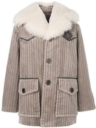 Marc Jacobs corduroy fur-trim coat