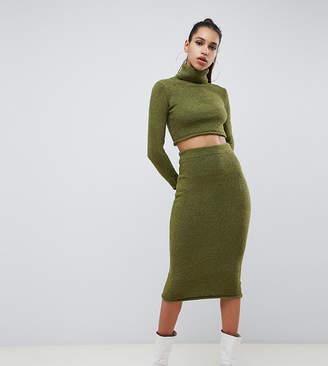 Missguided knitted midi skirt in khaki