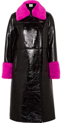 STAND - Bernadette Faux Fur-trimmed Crinkled-vinyl Coat - Black