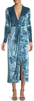 Galvan Long-Sleeve Deep-V Hammered Stretch-Velvet Cocktail Dress