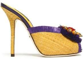Dolce & Gabbana Embellished Fringed Woven Raffia Mules