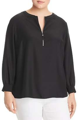 Lafayette 148 New York Plus Fantasia Silk Half-Zip Blouse