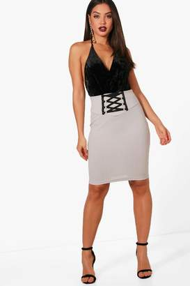 boohoo Lace Up Waist Crepe Midi Skirt