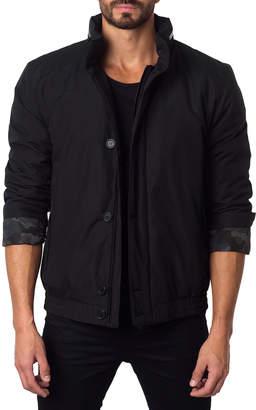 Jared Lang London 1A Camo-Cuff Bomber Jacket, Black