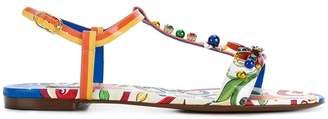 Dolce & Gabbana Belucci Majolica print thong sandals