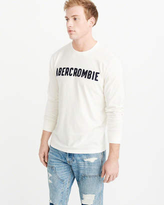 Abercrombie & Fitch Long-Sleeve Applique Logo Tee