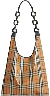 Burberry Medium plastic shopper with vintage check pouch