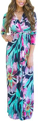 Sunfury Plus Size Paris Bohemian 3/4 Sleeve Faux Wrap Long Maxi Resort Dress for Women XL
