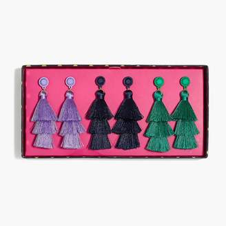J.Crew Layered thread tassel earrings gift box set