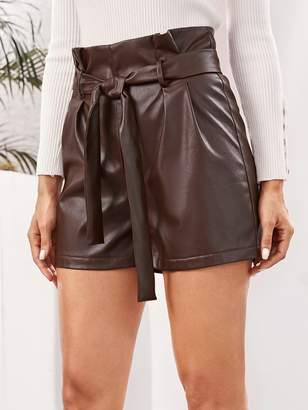 Shein Paperbag Waist Belted PU Leather Shorts