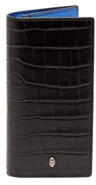 Alexander McQueen Bi Fold Crocodile Effect Leather Wallet - Mens - Black