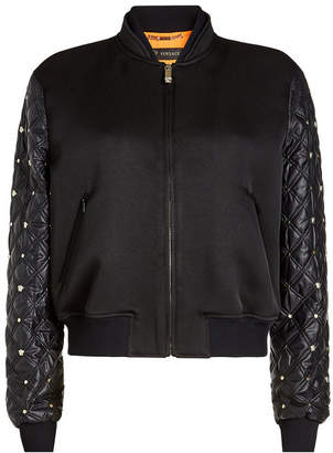 Versace Cotton-Blend Bomber with Quilted Sleeves