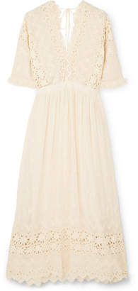 LoveShackFancy Delfina Ruffled Broderie Anglaise Voile Dress - Cream