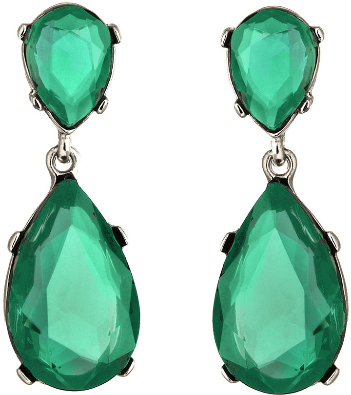 Kenneth Jay Lane Green Austrian Crystal Teardrop Earrings