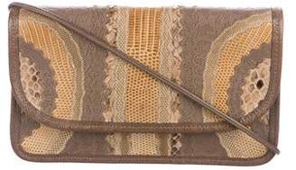 Carlos Falchi Python-Trimmed Crossbody Bag