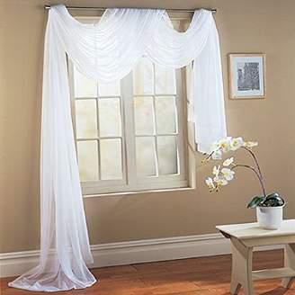 Elegant Comfort WPM White Elegance Sheer Scarf Valance 216'' Long