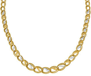 QVC 14K Two-tone Parallel Wavy Inset Necklace, 11.1