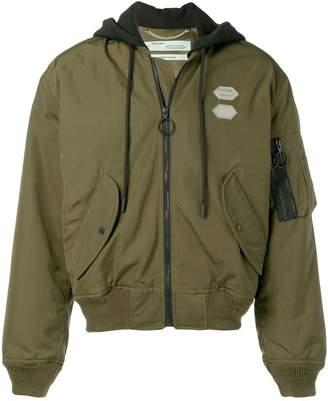 Off-White hooded bomber jacket